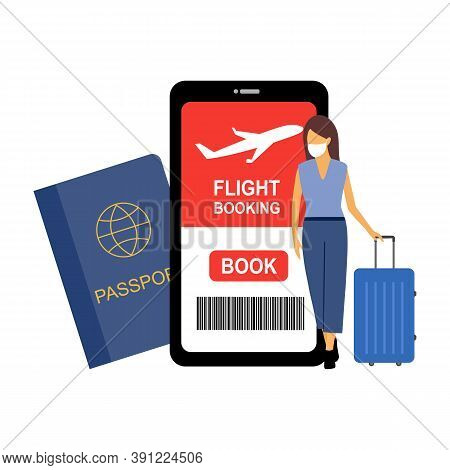 Booking A Flight On Phone Via Mobile App Concept Vector Illustration On White Background. Flight Tic