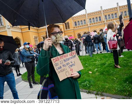 Wroclaw, Poland, 23 October 2020 - Protest Of Women In Polish City Wroclaw Because Poland's Top Cour