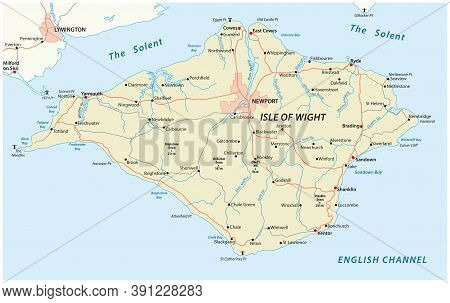 Roads Vector Map Of Isle Of Wight, Uk