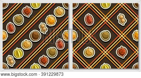 Vector Fruit Seamless Patterns, 2 Square Repeating Fruit Backgrounds, Set Of Isolated Illustrations