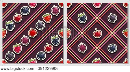Vector Berry Seamless Patterns, 2 Square Repeating Berry Backgrounds, Set Of Isolated Illustrations