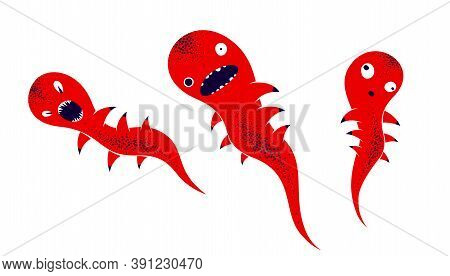Weird Creepy Cartoon Funny Monster Isolated On White Vector Illustration, Fantastic Creature Of Nigh