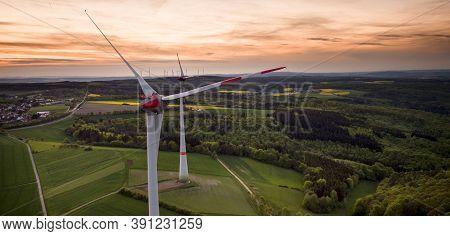 Wind Turbine Generating Clean Energy. Power Plant With Wind Turbine In Wind Farm, Clean Energy Gener