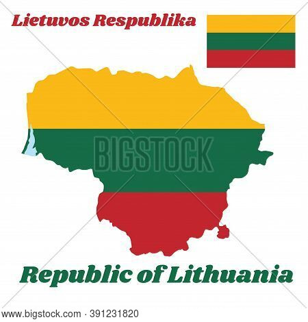 Map Outline And Flag Of Lithuania, A Horizontal Triband Of Yellow, Green And Red. With Name Text Rep