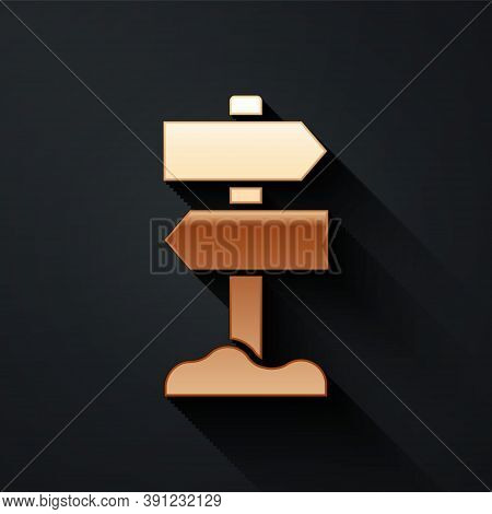 Gold Road Traffic Sign. Signpost Icon Isolated On Black Background. Pointer Symbol. Street Informati