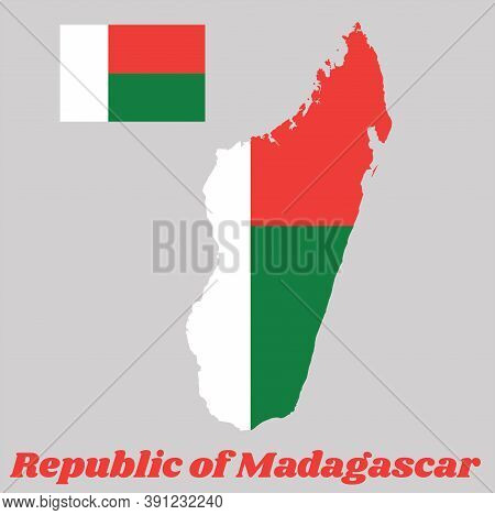 Map Outline And Flag Of Madagascar, Two Horizontal Bands Of Red And Green With A White Vertical Band