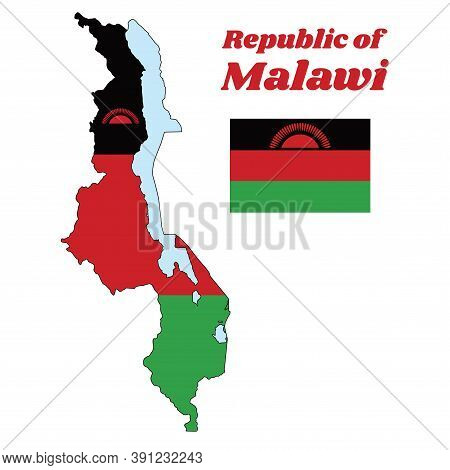 Map Outline And Flag Of Malawi,  A Horizontal Triband Of Black, Red, And Green; Charged With A Red R