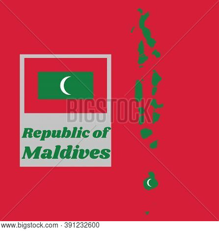 Map Outline And Flag Of Maldives, Green With A Red Border. The Centre Bears A Vertical White Crescen