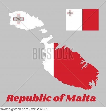 Map Outline And Flag Of Malta, A Vertical Bicolor Of White And Red With The Representation Of The Ge