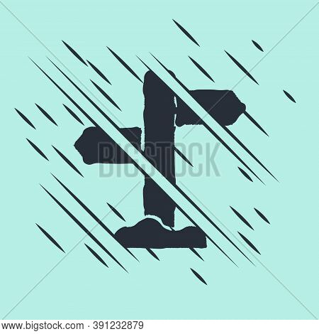 Black Road Traffic Sign. Signpost Icon Isolated On Green Background. Pointer Symbol. Street Informat