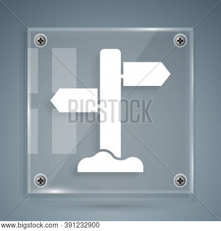 White Road Traffic Sign. Signpost Icon Isolated On Grey Background. Pointer Symbol. Street Informati