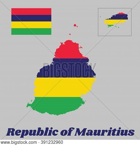 Map Outline And Flag Of Mauritius, Four Horizontal Bands Of Red, Blue, Yellow And Green. With Name T