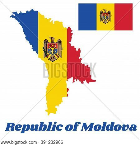 Map Outline And Flag Of Moldova, A Vertical Tricolor Of Blue, Yellow And Red; Charged With The Coat