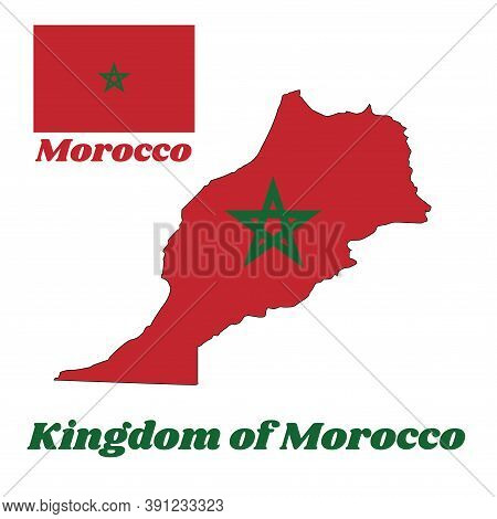 Map Outline And Flag Of Morocco, It Is A Red Field With A Black-bordered Green Pentagram. With Name