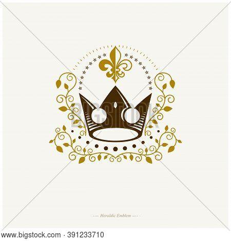 Royal Crown Emblem. Heraldic Coat Of Arms Decorative Logo Isolated Vector Illustration. Retro Logoty