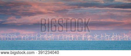 Wind Turbines. Power Plant With Wind Turbine, Clean Energy Generator Wind Turbine In Wind Farm.