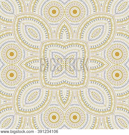 Flat Moroccan Zellige Tile Seamless Pattern. Ethnic Geometric Vector Motif. Fabric Print Design. Sty