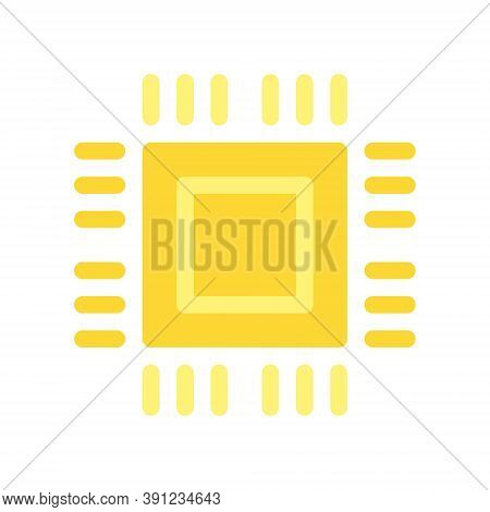 Cpu Chip For Bitcoin Mining. Microprocessor Sign. Cryptocurrency Technology Icon In Flat Design Styl