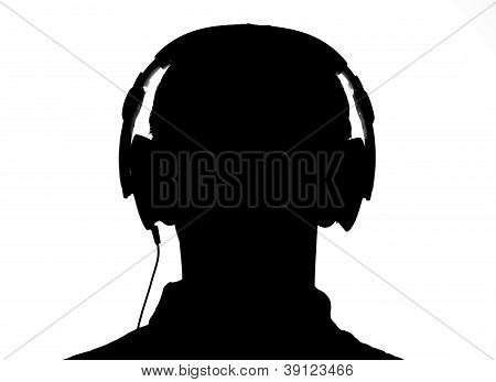 Silhouette Of A Head With Headphones