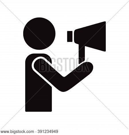 Person Holding A Megaphone. Announcement With Loudspeaker Icon Illustration. Promotion Sign.