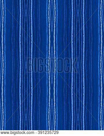 Blue Grunge Pattern. Horizontal Stripe Wallpaper. Modern Indigo Fabric Print. Indigo Seamless Grunge