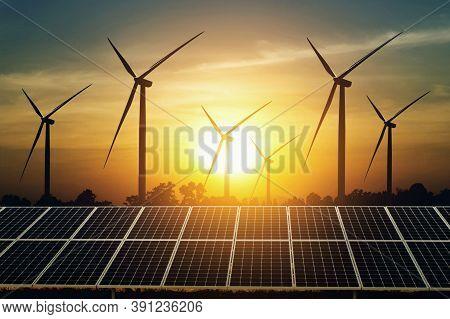Wind Turbine Generating Electricity. Power Plant With Wind Turbine In Wind Farm, Clean Energy Genera