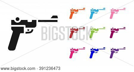 Black Mauser Gun Icon Isolated On White Background. Mauser C96 Is A Semi-automatic Pistol. Set Icons