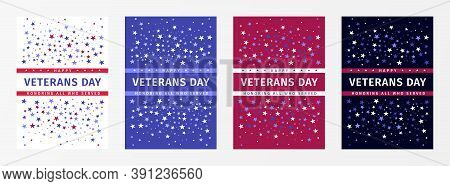 Veterans Day. Honoring All Who Served. November 11th. Usa Veterans Day Holiday Banners Set. United S