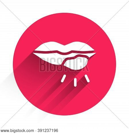 White Herpes Lip Icon Isolated With Long Shadow. Herpes Simplex Virus. Labial Infection Inflammation