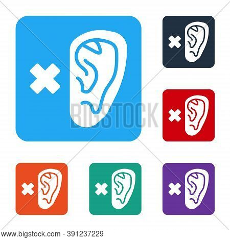 White Deafness Icon Isolated On White Background. Deaf Symbol. Hearing Impairment. Set Icons In Colo