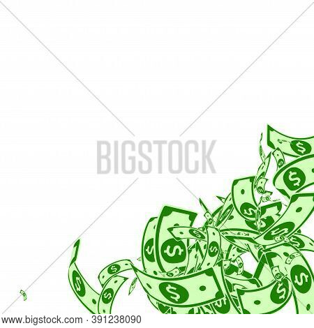 American Dollar Notes Falling. Messy Usd Bills On White Background. Usa Money. Comely Vector Illustr