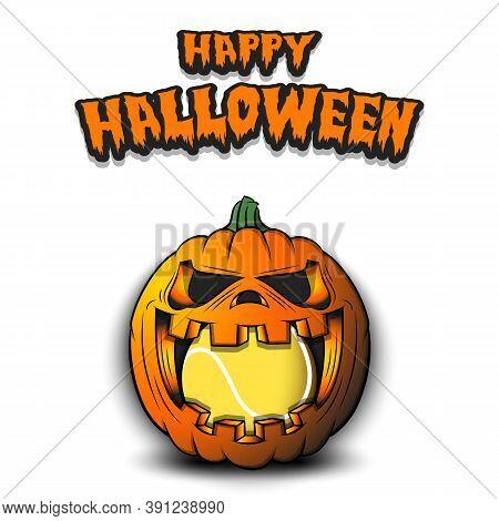 Happy Halloween. Tennis Ball Inside Frightening Pumpkin. The Pumpkin Swallowed The Ball With Burning