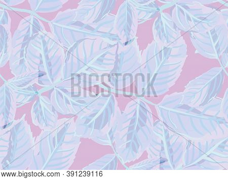 Summer Textile Design. Romantic Botanical Vector Background. Rose Leaves Seamless Pattern. Repeated