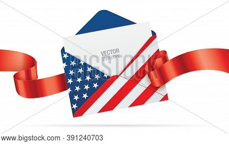 Usa Flag Printed Opened Envelope With A Blank Paper And Red Ribbon, Isolated On A White Background.