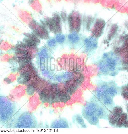 Pink Tie Dye Roll. Yellow Hippie Spiral. Colorful Circular Art Background. Grunge Dyed Shirt. 1960s
