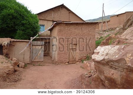 Typical clay hovel, Hissar Mountains, Uzbekistan, Central Asia poster
