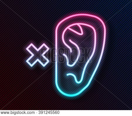 Glowing Neon Line Deafness Icon Isolated On Black Background. Deaf Symbol. Hearing Impairment. Vecto