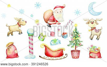Santa Claus, Reindeer, Christmas Tree, With Toys, Sleigh, Bag Of Gifts, Snowflakes, Moon, Gifts And