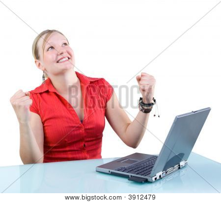 Success! Attractive Businesswoman With Laptop