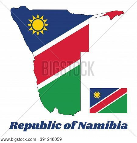 Map Outline And Flag Of Namibia,  A White-edged Red Diagonal Band Radiating From The Lower Hoist-sid