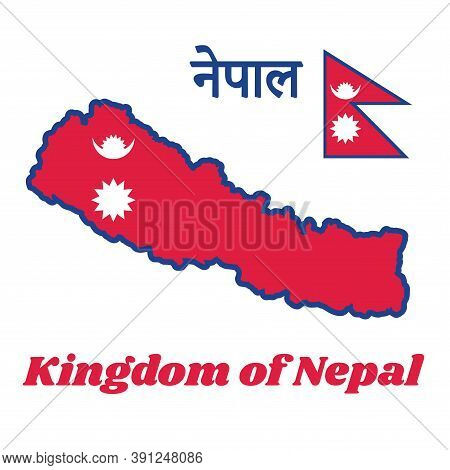 Map Outline And Flag Of Nepal, Two Red Blue Triangles: The Smaller Upper Triangle Bears The White St