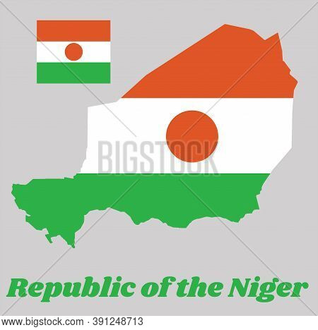 Map Outline And Flag Of Niger, A Horizontal Triband Of Orange, White And Green; Charged With An Oran