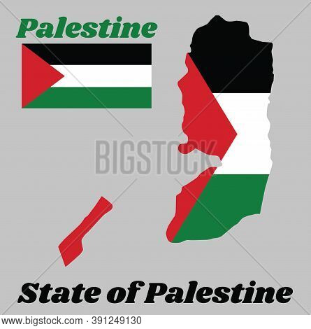 Map Outline And Flag Of Palestine, A Horizontal Tricolor Of Black, White, And Green; With A Red Tria