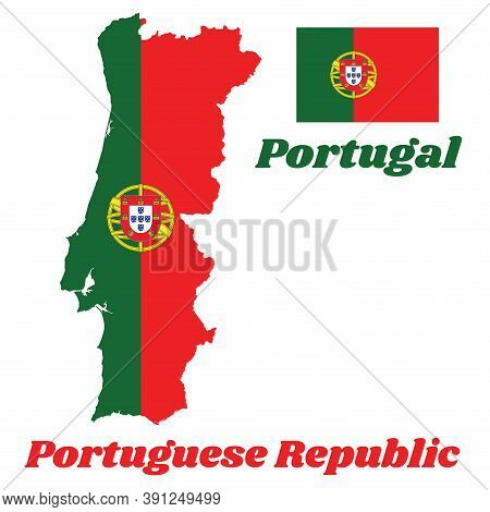 Map Outline And Flag Of Portugal, A 2:3 Vertically Striped Bicolor Of Green And Red, With The Lesser