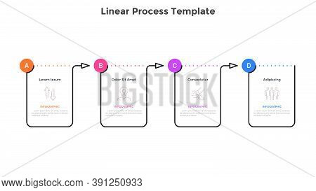 Linear Progress Bar With Four Rectangular Elements Connected By Arrows. Concept Of 4 Steps Of Progre