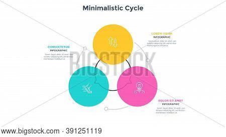 Round Cyclic Diagram With 3 Colorful Circular Elements. Concept Of Three Stages Of Production Cycle.