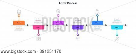 Flowchart With Six Arrows Placed In Horizontal Row. Concept Of 6 Successive Steps Of Business Develo