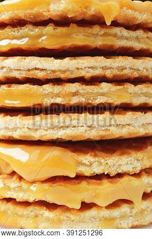 Closeup The Texture Of Mouthwatering Stroopwafel Or Caramel Filled Traditional Dutch Waffle Stack