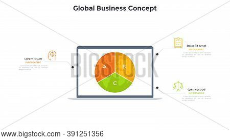 Planet Earth Divided Into 3 Sectors On Screen Of Laptop Computer. Concept Of Three Features Of Globa