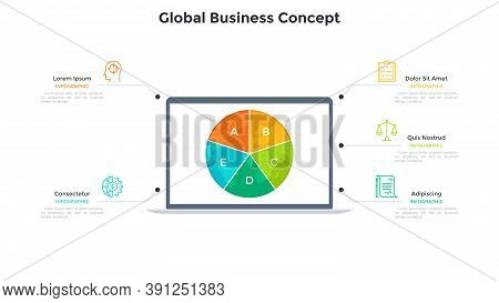 Planet Earth Divided Into 5 Sectors On Screen Of Laptop Computer. Concept Of Fire Features Of Global